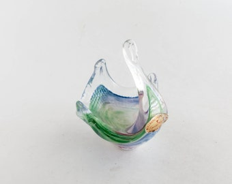 Vintage Murano Glass Swan Candy Dish hand Blown Trinket Ring Dish Rainbow Color