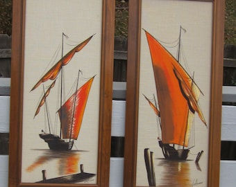 Mid Century Textile Screen Print Set - Large Framed Pair of Sailboat Pictures - Franklin Wall Art - Gorgeous MCM Design