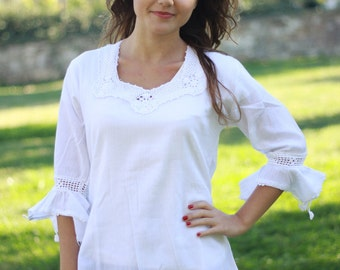 Gift for mom, Womens blouses, White cotton top for womens, White blouses, Cotton boho blouse, Cotton summer top, White cotton blouses
