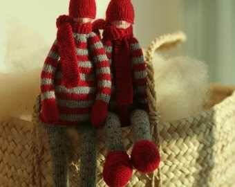 "Knitted Scandinavian gnomes 14"" by Peperuda dolls, soft doll, art doll, rag doll"