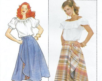 Butterick 4404 Misses'  80s Flared Reversible Wrap Skirt Sewing Pattern Size 6, 8, 10 Waist 23, 24, 25, Hip 32 1/2 to 34 1/2