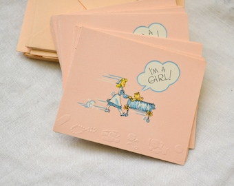 1940s NOS Baby Girl Announcement Cards, Set of 25 with Envelopes