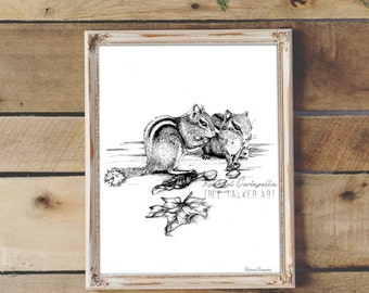 Squirrel Friends Illustration- Giclee Fine Art Print - Pen and Ink Illustration - Squirrel Drawing - Artist Rachael Caringella