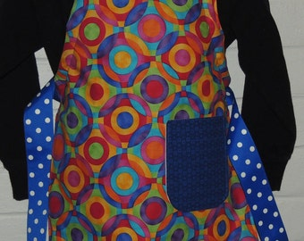 REVERSIBLE Child Country Cooking Apron / Art Smock fits size 3, 4, 5, 6 and 7 retro primary color circles blue green yellow red pink orange