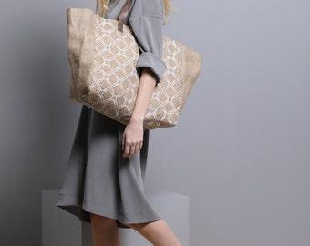 Large Tote Jute handbag for women, burlap bag, eco friendly tote bag with handmade screen printing