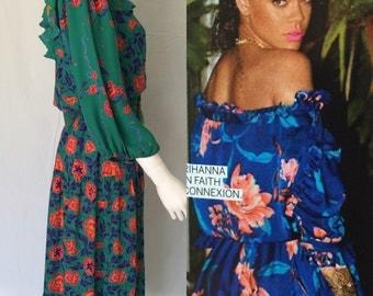 Vintage Diane Freis Teal Green Floral Rayon Dress - Circa 1990s