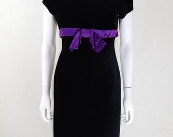 Vintage 1980s Black and Purple Pencil Dress UK Size 8