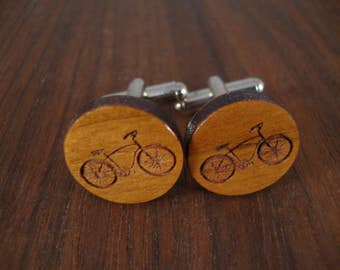 Men's Wooden Cuff Links - Bicycle Engraved in Cherry Wood - Wedding, anniversary, any Special Occasion