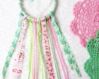 SALE Baby Girl Room Decor, Green & Pink Love Catcher, Shabby Chic Lace Dream Catcher, Nursery Decor, Baby Shower Gift