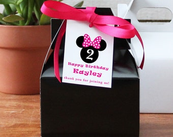 12 - Personalized Mini Gable Boxes - Minnie Mouse Tag - Minnie Mouse Birthday Party Favors, Minnie Mouse Birthday, Minnie Mouse Favor Box