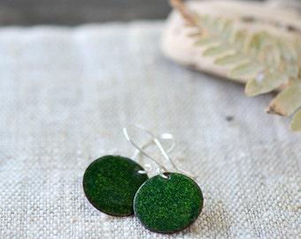 Green Enamel Earrings Small Round Sterling Silver Earwire - Artisan Jewelry by Alery