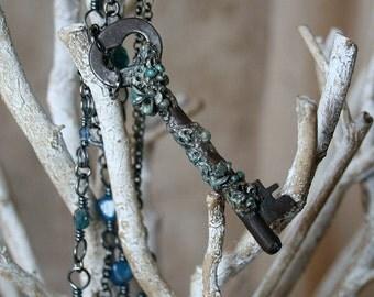 Sea Floor - Antique Skeleton Key Necklace - Ocean Sea Necklace - TheKey - Treasure Key