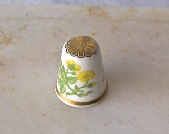 Vintage Thimble Yellow Flowers Gold Gilt Thimble by Spode England Sewing Room Collectable 1980s