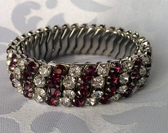 Vintage Rhinestone Bracelet Stainless Steel Stretch, clear, purple, 1960's