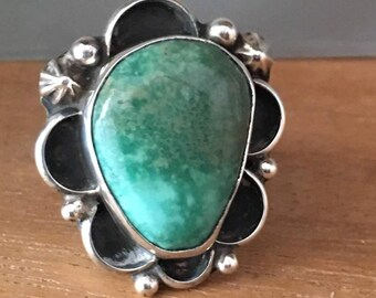 TURQUOISE STERLING SILVER Green Artist Chimney Butte Navajo Large Native American Ring Size 6