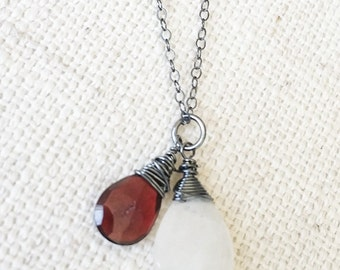 Garnet Moonstone Necklace in Oxidized Silver