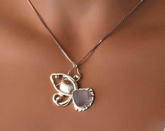 Custom FISH Sea Glass Necklace  Nautical Beach Argentium Silver (935) Wearable Art Jewelry