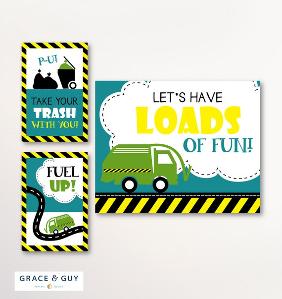 Garbage Truck Party Signs