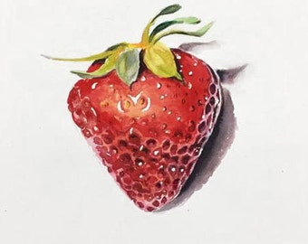 "Strawberry - 14""x11"" ORIGINAL WATERCOLOR PAINTING"
