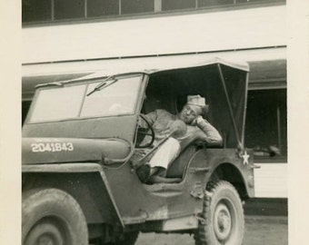 "Vintage Photo ""Dreaming of His Girl"" Military Jeep Snapshot Antique Photo Old Black & White Photograph Found Paper Ephemera Vernacular - 181"