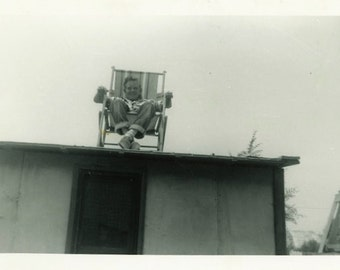 "Vintage Photo ""Charlie Has the Best Seat"" Snapshot Antique Photo Old Black & White Photograph Found Paper Ephemera Vernacular - 60"