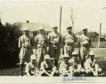 "Vintage Photo ""Sheridan Baseball Boys"" Team Sports Snapshot Old Antique Photo Black & White Photograph Found Paper Ephemera Vernacular - 93"