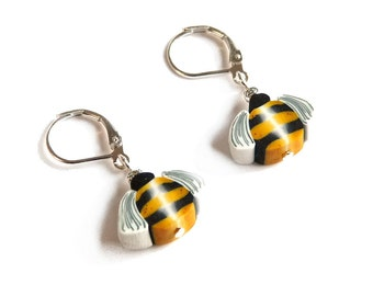 Tiny BEE earrings, Honeybee insect Jewelry Dangle Earrings, VALENTINE'S day gift, Easter miniature 925 Sterling Silver polymer clay bee cane