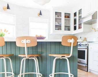 Solid White Oak Counter/Bar/Desk Stool with Steel Base
