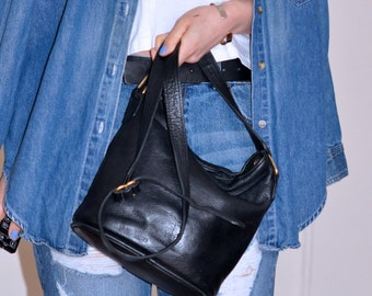 Black Pebbled Leather Mini Duffle Coach Shoulderbag