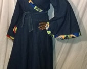 Holiday Wrap Dress Ankara and Denim Maxi Dress  African Trim Kimono Sleeves