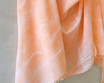 Coral Scarf, Shibori Scarf, Boho Scarf, Coral Cotton Scarf, Hand Painted Scarf, Orange Scarf, Hand Dyed Scarf, Cotton Shibori, Summer Scarf