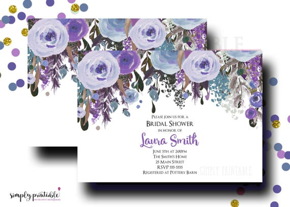 Wedding Shower Invitation, Purple Bridal Shower Invite, Watercolor Flowers