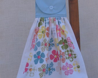 Floral Hanging Tea Towel, Pastel Flowers, Kitchen Dish Towel, Polka Dot Flowers, Kitchen Towels, Floral Decor, Pastel Kitchen SnowNoseCrafts