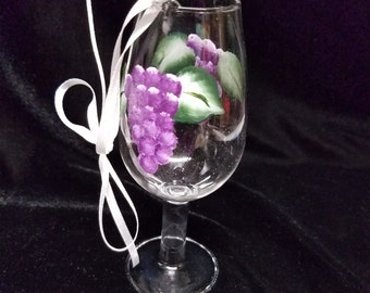 Hand Painted Ornament, Grapes, Miniature Wine Glass