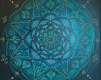 Brown and Cream Mandala on Teal (green and blue)