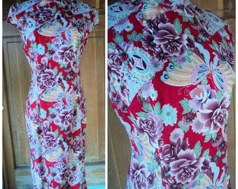 Vintage 90s Cheongsam Dress Chinese Print Butterflies Roses Floral Vibrant 90s does 30s Cheongsam Novelty 36 B