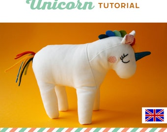 unicorn plushie tutorial, unicorn toy DIY, instructions, sewing pattern, sew your own unicorn