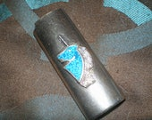 Turquoise Unicorn BIC Lighter Sleeve Silver-Tone Turquoise Fantasy Lighter Case-Vintage 70s