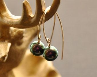 Gold Pearl Hoop Earrings, Gold Pearl Jewelry, Purple Earrings, Peacock Pearls, Bridal Earrings, Bridesmaid Earrings, Earrings for Women