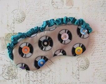 Vinyl Enthusiast Sleep Mask in Multi, Aqua // Cotton & Satin Eye Mask