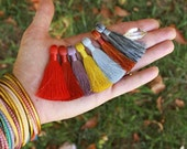 "2 Inch Silky Jewelry Tassels, FALL Pantone Colors, Handmade Jewelry Making Mala Tassels, Quality Fashion Tassels, 2"", You Choose 3+ Colors"