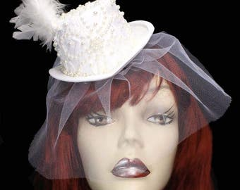 White Pearl Mini Wedding Top Hat Fascinator Veiled Victorian Steampunk Bride Floral