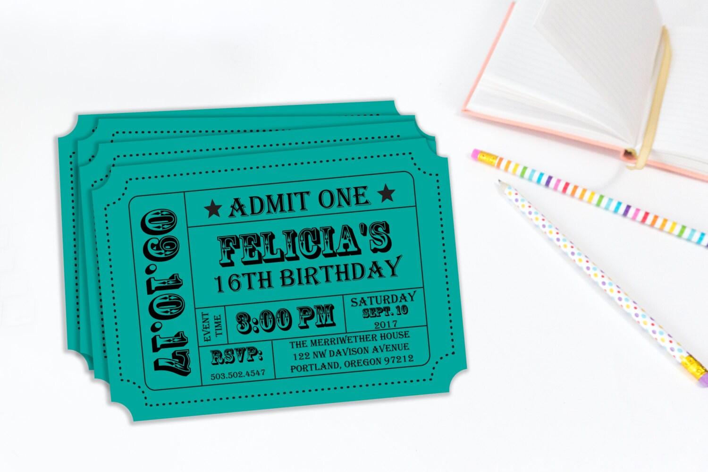 Carnival Ticket Invitation Ticket Stub Editable Invitation – Carnival Ticket Birthday Invitations