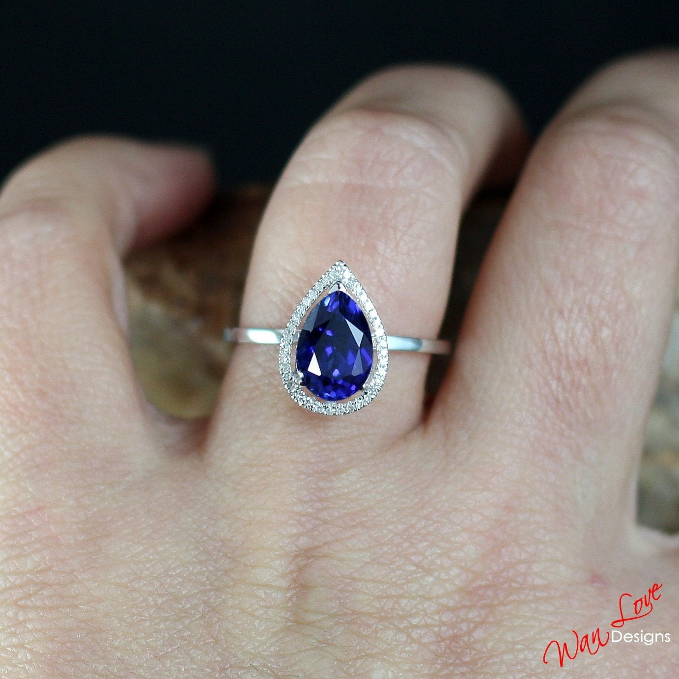 Blue Sapphire Diamond Halo Pear plain shank band Engagement