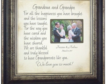 Grandparents Sign, Wedding Gift for Grandparents, Grandparents Wedding, Grandmother Grandfather Gift, Personalized Wedding Frame Gift, 16x16