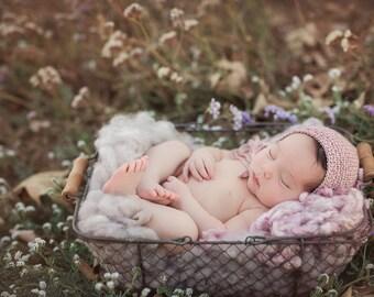 Photo Prop Bonnet Newborn Size Merino Silk Bonnet Newborn Photo Prop Bonnet Textured Newborn Boy Bonnet Newborn Girl Bonnet, Newborn Size