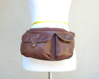Vintage Dark Brown Leather Fannypack Belt Bag Pack Sack Organizer Purse Essential Summer Fashion Hippie Natural Biker Beach Boho Hipster