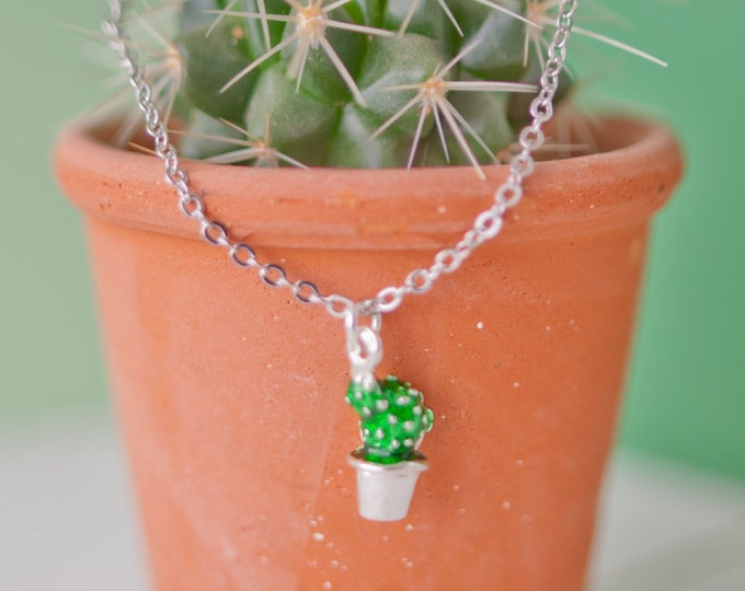 Featured listing image: Cactus Necklace, Cactus Pendant, Silver Cactus Charm, Cactus Necklace, Cactus Gift, Succulent Jewellery, Succulent Charm