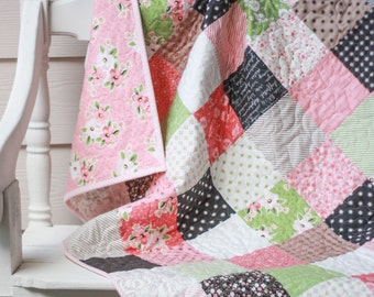 Baby Girl Quilt - Crib Quilt - Small Lap Quilt - READY TO SHIP - Homemade Quilts