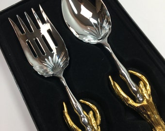 2Saints Gold Antler Fork & Spoon Hostess Server Set Silver Metal ~ #D2086